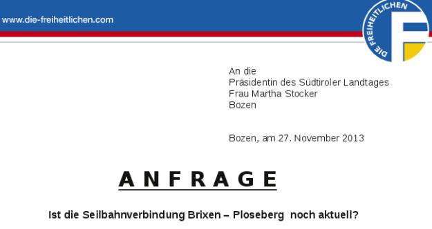 Anfrage des Landtagsabgeordneten Walter Blaas am 27.11.2013
